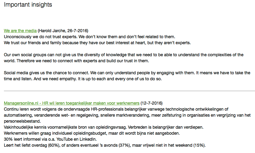 Insights note in Evernote