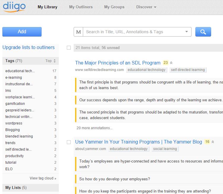 Tags, bookmarks en highlights in Diigo