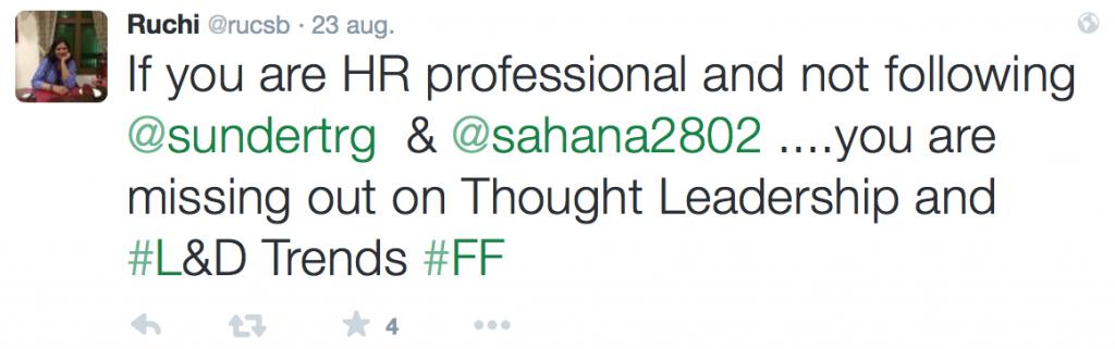 Voorbeeld van het gebruik van de hashtag FF (follow friday) in een tweet