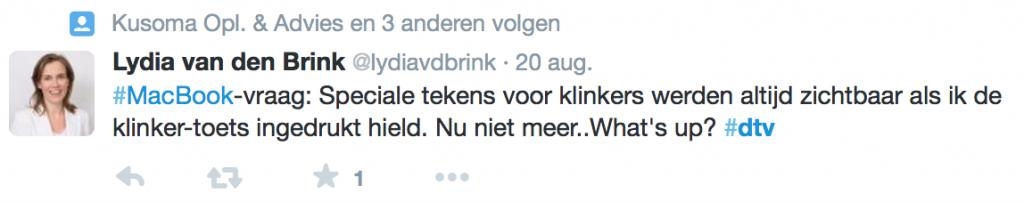 Voorbeeld van het gebruik van de hashtag dtv in een tweet