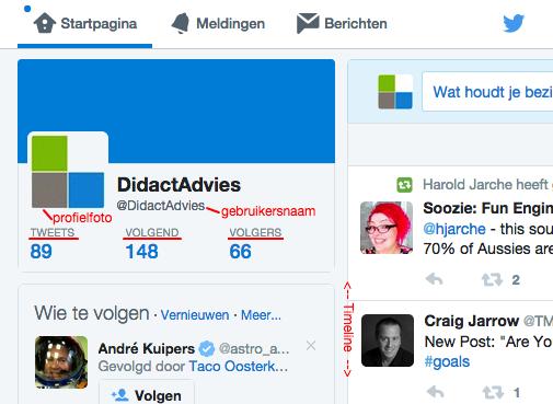 Twitterprofiel met duiding van de profielinformatie
