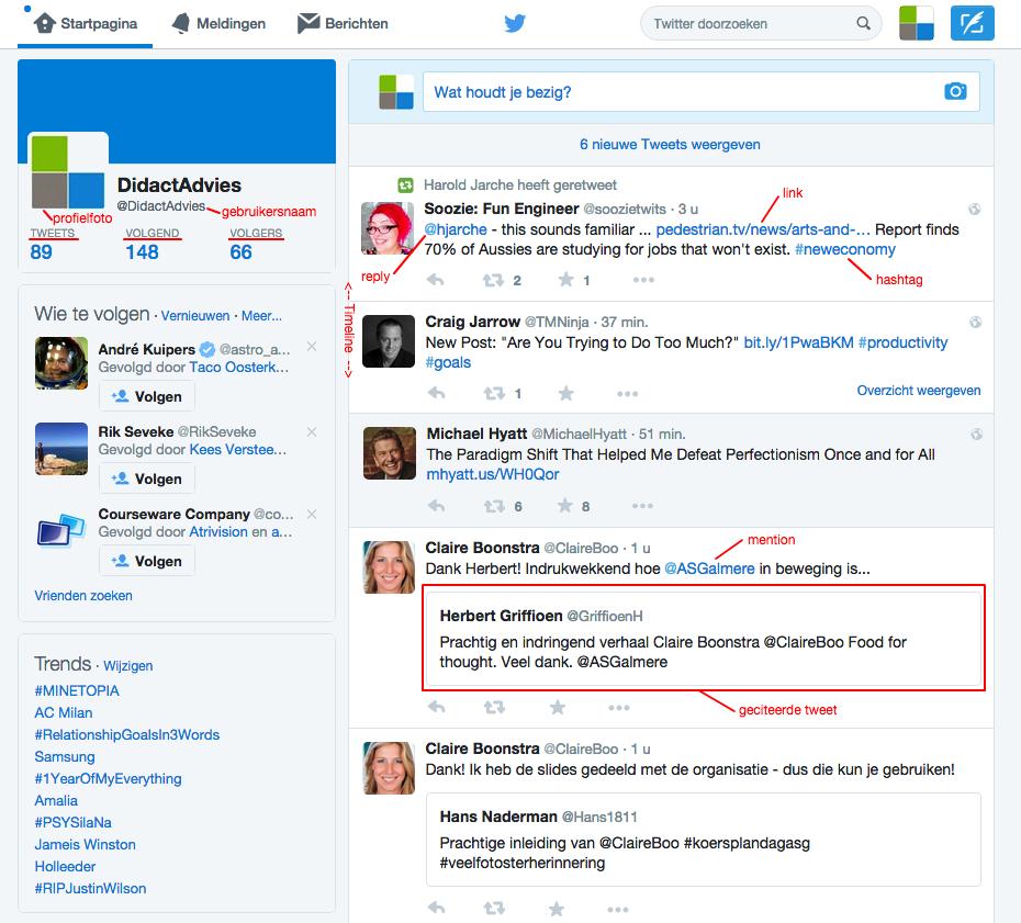 Twitter-startpagina waarop de onderdelen van een tweet worden aangewezen en benoemd