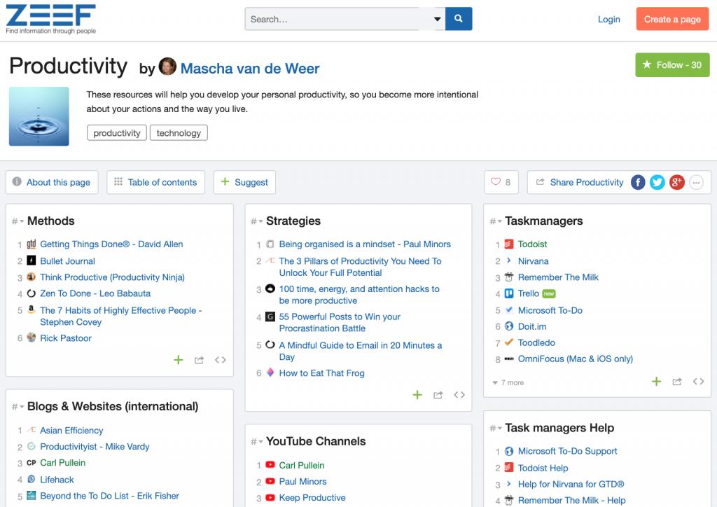 Pagina met links over productiviteit gecategoriseerd in verschillende blokken